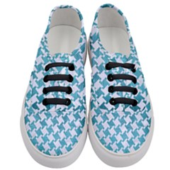 Houndstooth2 White Marble & Teal Brushed Metal Women s Classic Low Top Sneakers