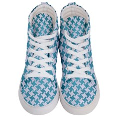 Houndstooth2 White Marble & Teal Brushed Metal Men s Hi Top Skate Sneakers