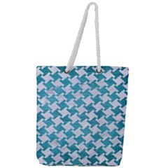 Houndstooth2 White Marble & Teal Brushed Metal Full Print Rope Handle Tote (large) by trendistuff