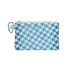 Houndstooth2 White Marble & Teal Brushed Metal Canvas Cosmetic Bag (small)