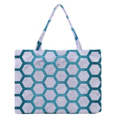 Hexagon2 White Marble & Teal Brushed Metal (r) Zipper Medium Tote Bag by trendistuff