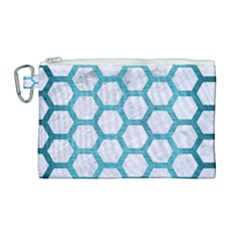 Hexagon2 White Marble & Teal Brushed Metal (r) Canvas Cosmetic Bag (large)