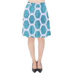 Hexagon2 White Marble & Teal Brushed Metal Velvet High Waist Skirt by trendistuff