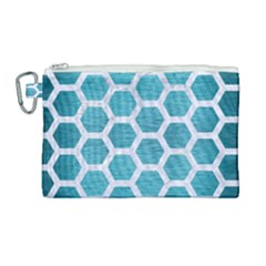 Hexagon2 White Marble & Teal Brushed Metal Canvas Cosmetic Bag (large) by trendistuff
