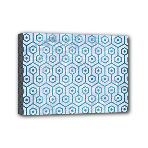 Hexagon1 White Marble & Teal Brushed Metal (r) Mini Canvas 7  X 5  by trendistuff