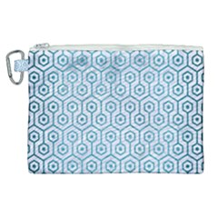 Hexagon1 White Marble & Teal Brushed Metal (r) Canvas Cosmetic Bag (xl) by trendistuff