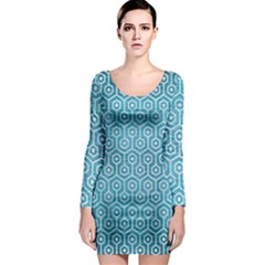 Hexagon1 White Marble & Teal Brushed Metal Long Sleeve Bodycon Dress