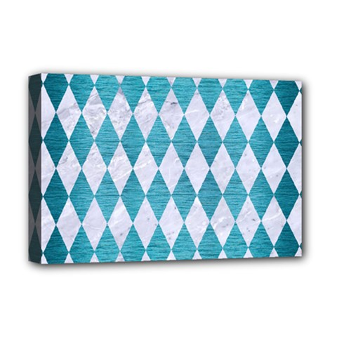 Diamond1 White Marble & Teal Brushed Metal Deluxe Canvas 18  X 12