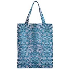 Damask2 White Marble & Teal Brushed Metal (r) Zipper Classic Tote Bag by trendistuff