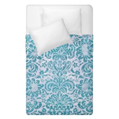 Damask2 White Marble & Teal Brushed Metal (r) Duvet Cover Double Side (single Size) by trendistuff