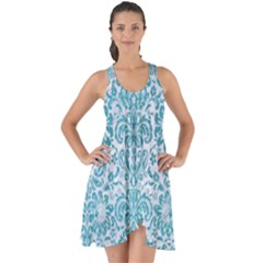 Damask2 White Marble & Teal Brushed Metal (r) Show Some Back Chiffon Dress