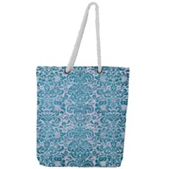 Damask2 White Marble & Teal Brushed Metal (r) Full Print Rope Handle Tote (large) by trendistuff