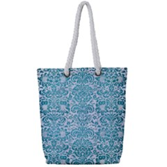 Damask2 White Marble & Teal Brushed Metal (r) Full Print Rope Handle Tote (small) by trendistuff