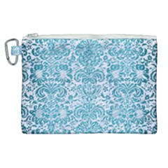 Damask2 White Marble & Teal Brushed Metal (r) Canvas Cosmetic Bag (xl) by trendistuff