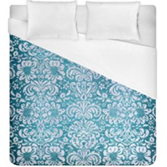 Damask2 White Marble & Teal Brushed Metal Duvet Cover (king Size) by trendistuff
