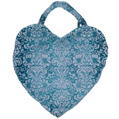 Damask2 White Marble & Teal Brushed Metal Giant Heart Shaped Tote