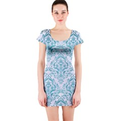 Damask1 White Marble & Teal Brushed Metal (r) Short Sleeve Bodycon Dress by trendistuff