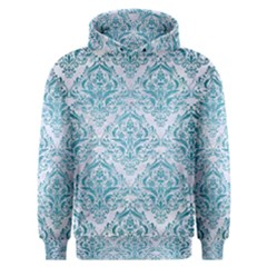 Damask1 White Marble & Teal Brushed Metal (r) Men s Overhead Hoodie