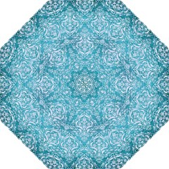 Damask1 White Marble & Teal Brushed Metal Straight Umbrellas by trendistuff