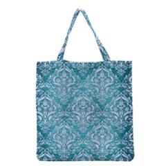 Damask1 White Marble & Teal Brushed Metal Grocery Tote Bag by trendistuff