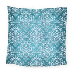 Damask1 White Marble & Teal Brushed Metal Square Tapestry (large) by trendistuff