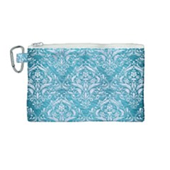 Damask1 White Marble & Teal Brushed Metal Canvas Cosmetic Bag (medium) by trendistuff