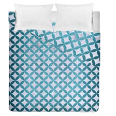 Circles3 White Marble & Teal Brushed Metal (r) Duvet Cover Double Side (queen Size) by trendistuff
