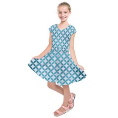 Circles3 White Marble & Teal Brushed Metal (r) Kids  Short Sleeve Dress by trendistuff