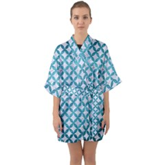 Circles3 White Marble & Teal Brushed Metal (r) Quarter Sleeve Kimono Robe by trendistuff