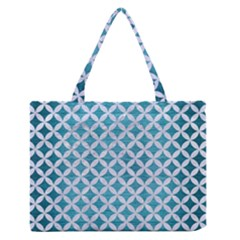 Circles3 White Marble & Teal Brushed Metal Zipper Medium Tote Bag by trendistuff