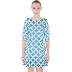 Circles3 White Marble & Teal Brushed Metal Pocket Dress