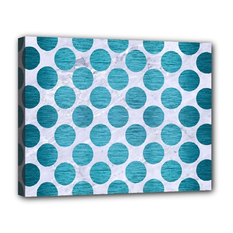 Circles2 White Marble & Teal Brushed Metal (r) Canvas 14  X 11  by trendistuff