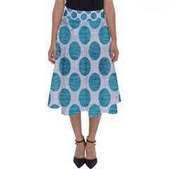 Circles2 White Marble & Teal Brushed Metal (r) Perfect Length Midi Skirt