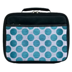 Circles2 White Marble & Teal Brushed Metal (r) Lunch Bag