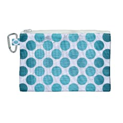 Circles2 White Marble & Teal Brushed Metal (r) Canvas Cosmetic Bag (large) by trendistuff