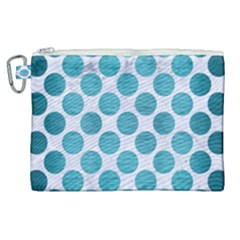 Circles2 White Marble & Teal Brushed Metal (r) Canvas Cosmetic Bag (xl) by trendistuff