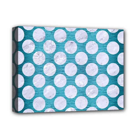 Circles2 White Marble & Teal Brushed Metal Deluxe Canvas 16  X 12   by trendistuff