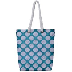 Circles2 White Marble & Teal Brushed Metal Full Print Rope Handle Tote (small) by trendistuff