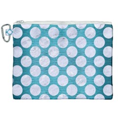 Circles2 White Marble & Teal Brushed Metal Canvas Cosmetic Bag (xxl) by trendistuff