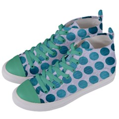 Circles1 White Marble & Teal Brushed Metal (r) Women s Mid Top Canvas Sneakers by trendistuff