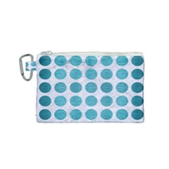 Circles1 White Marble & Teal Brushed Metal (r) Canvas Cosmetic Bag (small) by trendistuff