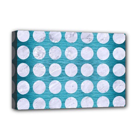 Circles1 White Marble & Teal Brushed Metal Deluxe Canvas 18  X 12   by trendistuff