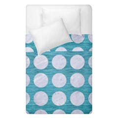 Circles1 White Marble & Teal Brushed Metal Duvet Cover Double Side (single Size) by trendistuff