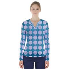 Circles1 White Marble & Teal Brushed Metal V Neck Long Sleeve Top