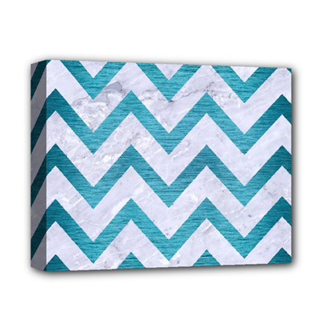 Chevron9 White Marble & Teal Brushed Metal (r) Deluxe Canvas 14  X 11  by trendistuff