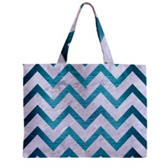 Chevron9 White Marble & Teal Brushed Metal (r) Zipper Mini Tote Bag by trendistuff