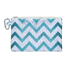 Chevron9 White Marble & Teal Brushed Metal (r) Canvas Cosmetic Bag (large)