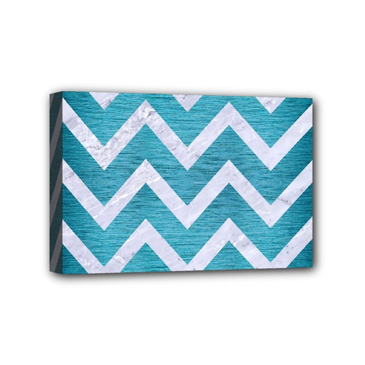 CHEVRON9 WHITE MARBLE & TEAL BRUSHED METAL Mini Canvas 6  x 4