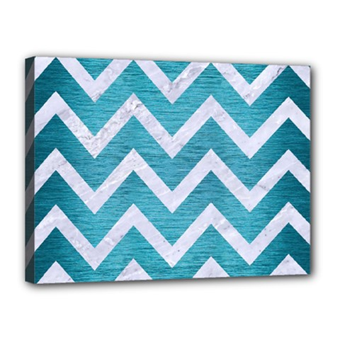 Chevron9 White Marble & Teal Brushed Metal Canvas 16  X 12  by trendistuff