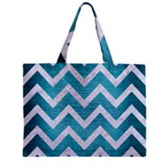 Chevron9 White Marble & Teal Brushed Metal Zipper Mini Tote Bag by trendistuff